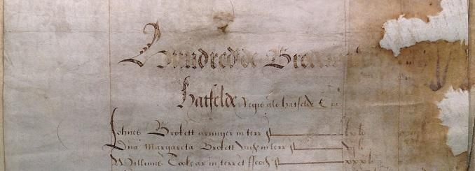 Sir John Brokett and Lady Margaret tax 1572