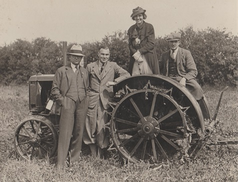 Gerald, Marjorie and Frank Brockett and tractor Cambridgeshire? c 1934