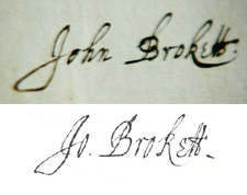 John Brokett's signature in 1635 and 1646