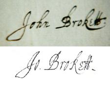 John Brokett's signature in 1635 and 1646