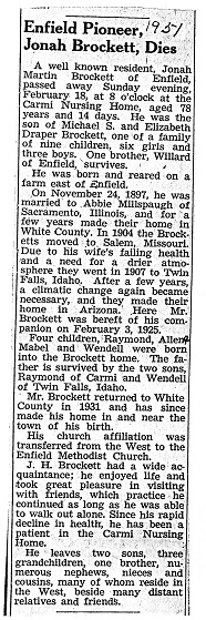 Jonah Brockett Obit 1951
