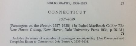 Lancour's item 71 in his 'Passenger Lists of Ships' citing Calder p 29-31