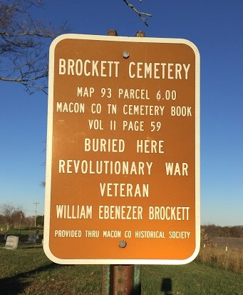 Brockett cemetery sign Macon TN