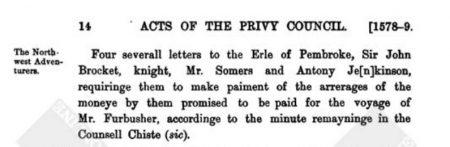 Privy Council minute re Sir John II 1579