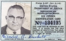 Wendell Brockett's INS card