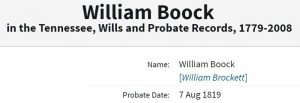 William Brockett 1819 Will Ancestry entry Boock snip