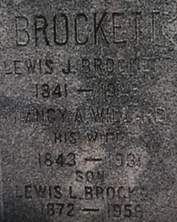 Grave of Lewis J Brockett d 1926 names