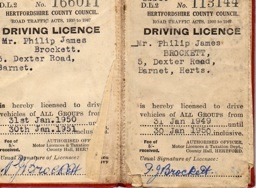 Philip James driving licence 1949/50