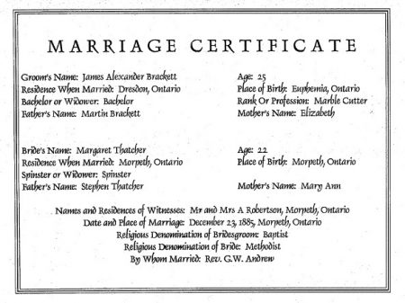 James and Maggie Thatcher marriage certificate