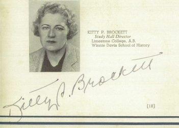 Kitty P Brockett Schoolbook 1938 signature