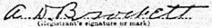 Albert Dorsey Brockett's signature on his WW1 draft card