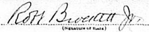 Robert Brockett Jr's signature on his WW1 draft card