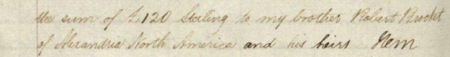 Andrew Brocket Will 1832 bequest to Robert