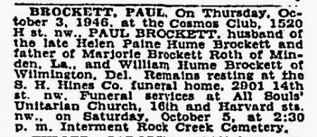Paul Brockett death 1946