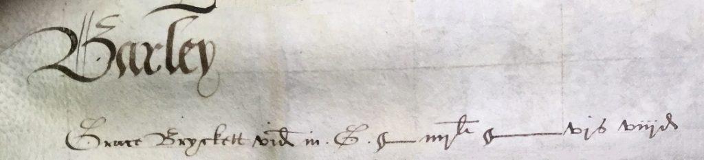 Grace Bryckett of Barley tax 1571