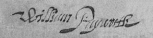 William Papworth 1637 Hitchin PR signature