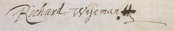Sir Richard Wiseman's signature 1624