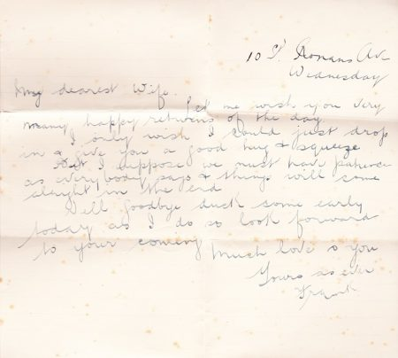 Frank Brockett's last letter 1916