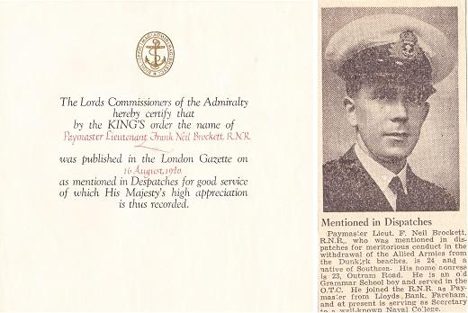 Neil Brockett mentioned in despatches Dunkirk 1940