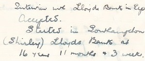 Ellen diary Neil 1932 interview with Lloyds