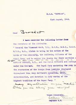 William Tennant letter 1940