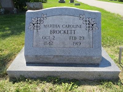 Martha Caroline Brockett gravestone 1919