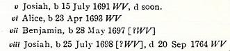 Jacobus p 324 Benjamin b 1697 WV birth