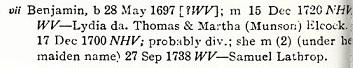 Jacobus p 324 Benjamin b 1697 WV divorce