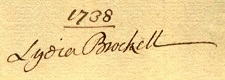 Lydia Brockett 1738 signature