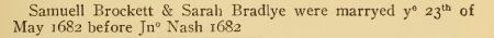 Samuel Brockett m 1682 NHV p 55