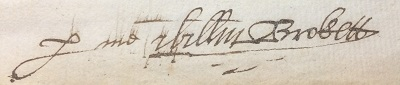 William Brockett Gent signature 1605
