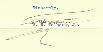President Tolbert's signature 1973