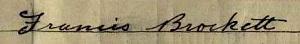 Francis Brockett b 1887 signature 1911