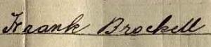 Frank Brockett b 1868 signature 1911