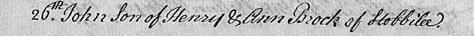 John Brock bap Lanchester 1764