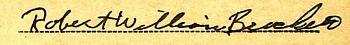 Robert W Brockett WWII draft card signature