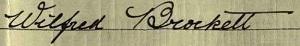Wifred Brockett b 1876 signature 1911