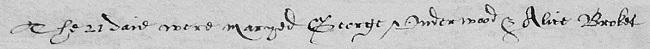 Alice Broket married Hitchin 1563